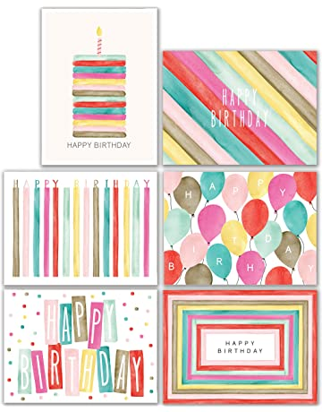 Watercolor Bulk Birthday Cards Assortment 48pc Happy Card With Envelopes Box Set