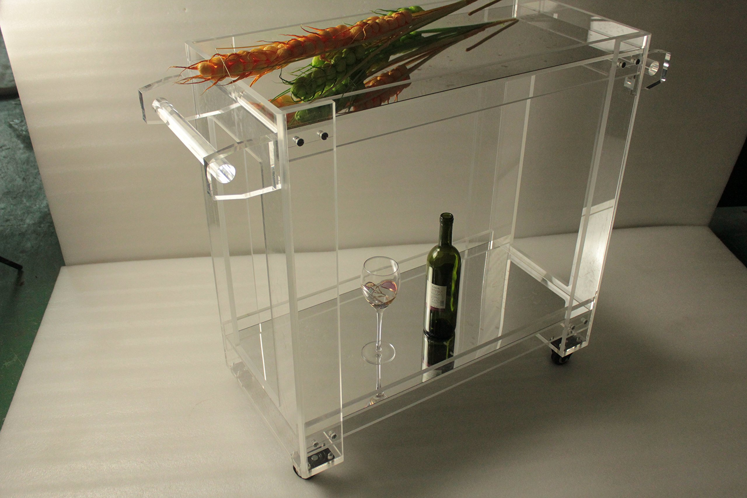 ONE LUX 2 shelves Rolling High transparency acrylic food bar cart,Mirror Plexiglass serving trolley on casters KD Packed