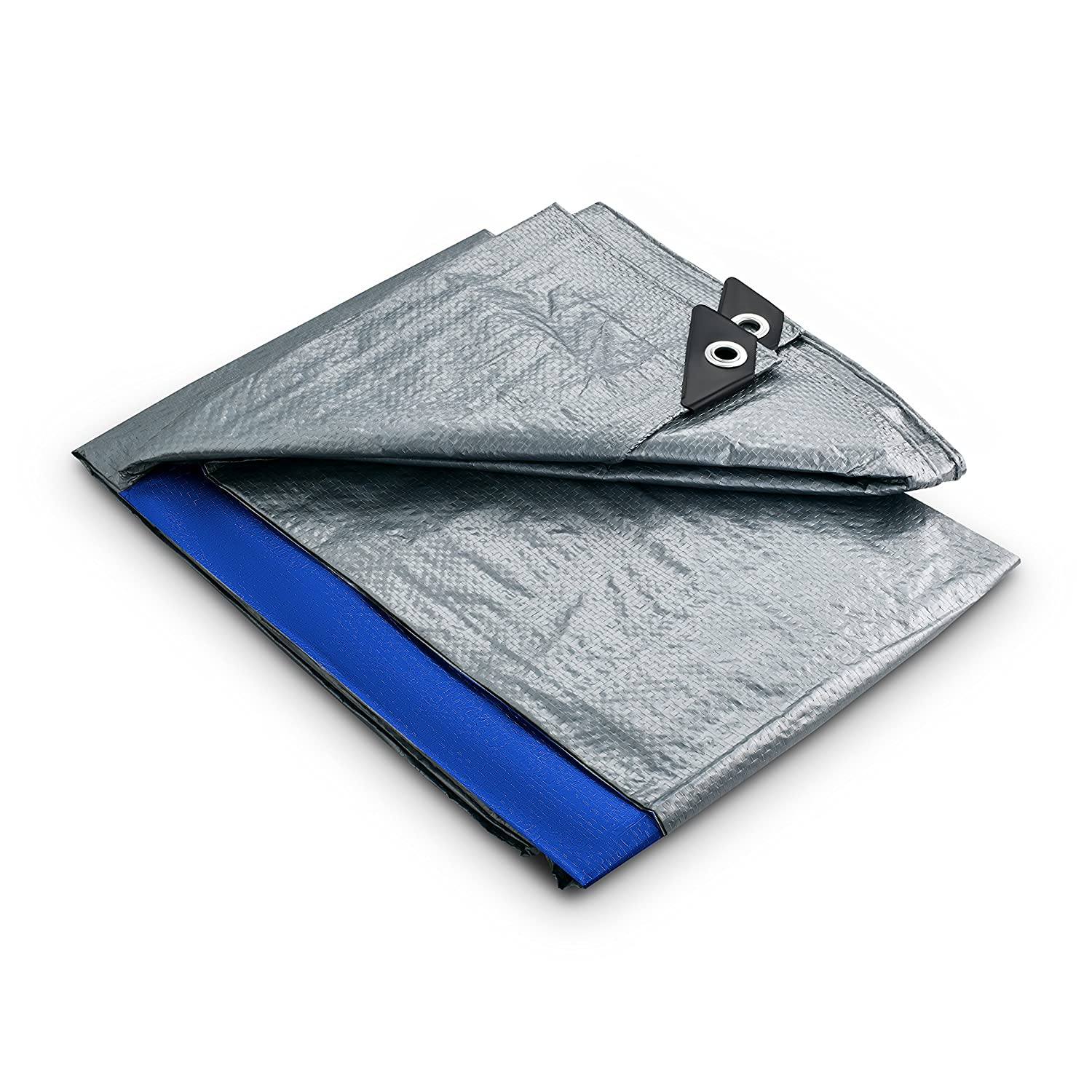 5.5 Mil Blue and Silver Emergency Rain Shelter 10x12 Waterproof Tarp KING-A-MA-JIGS 10 Foot. x 12 Foot Outdoor Cover and Camping Use 2 Pack All-Purpose Plastic Poly Tarp With Metal Grommets