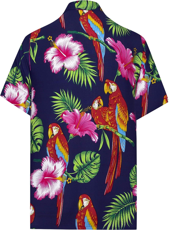 LA LEELA Mens Relaxed Hawaiian Shirt for Boys Button Down Up Shirt Printed D
