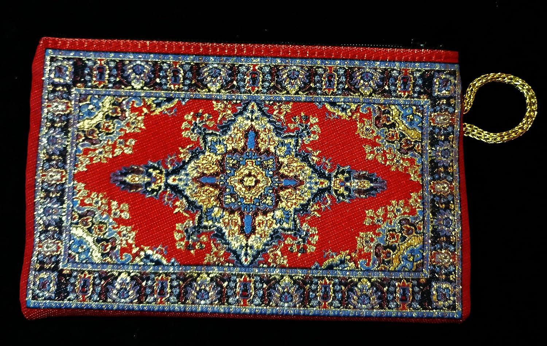 Cartera Monedero turco con cremallera 15 x 10. Varios colores (Flor Rojos y Dorados)