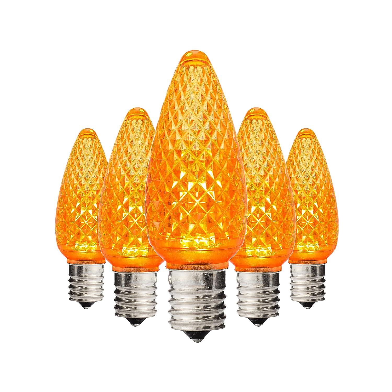 ホリデー照明コンセントLEDファセットc9 Teal交換用クリスマスライト電球e17ソケット、エネルギー効率的な商用グレード、3ダイオード0.58ワット( LED )電球。 C9 オレンジ 680912047760 B00F9ELLVE 25360 オレンジ|25 オレンジ