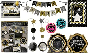 Office Birthday Decorations Kit, Office Happy Birthday Decorations, Adult Birthday Party Decorations, Birthday Banners, Office Cubicle Bday Decorations, Birthday Decoration Kit (Silver Black Set)