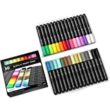 Acrylic Paint Pens 30 Assorted Markers Set 3.0mm Medium TIP for Rock, Glass, Mugs, Porcelain, Wood, Metal, Fabric…