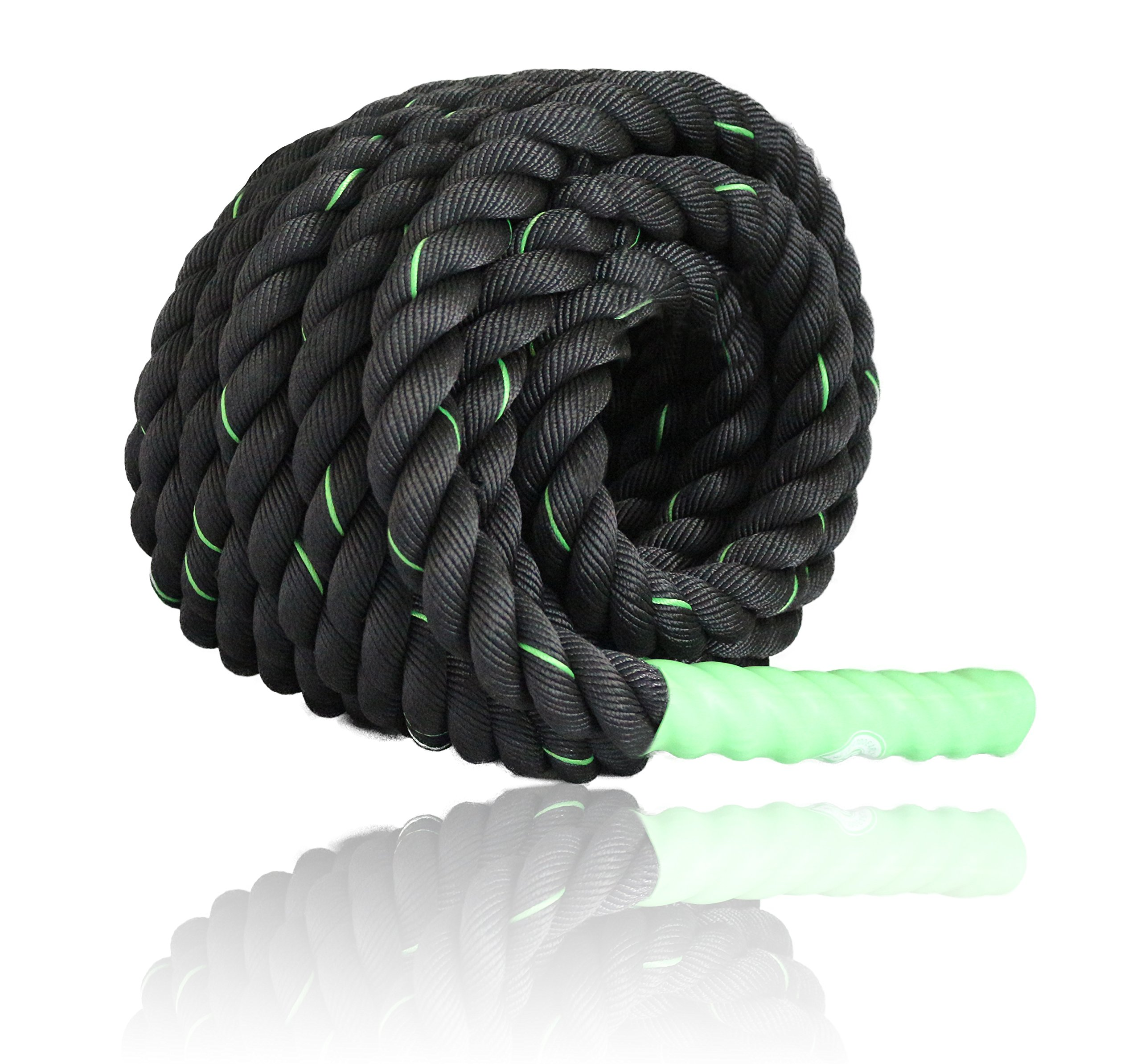 Battle Ropes Fitness | Cardio Exercise Rope Training | Best Gym Workout for Home - 40' feet x 1.5'' inch - Green by Fitness Answered Training (Image #5)