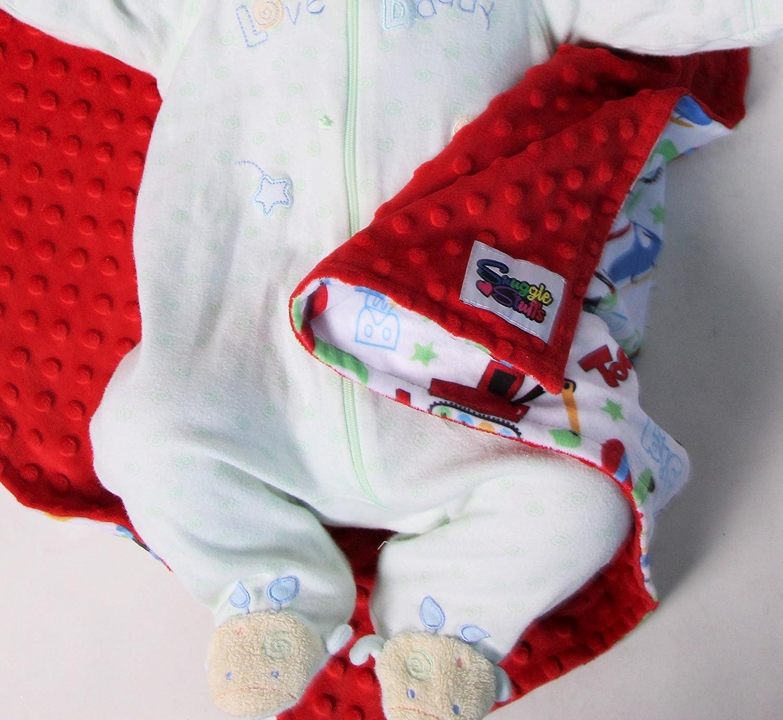 Boys Reversible Minky Dot Stroller Blanket Turquoise Cars /& Trucks