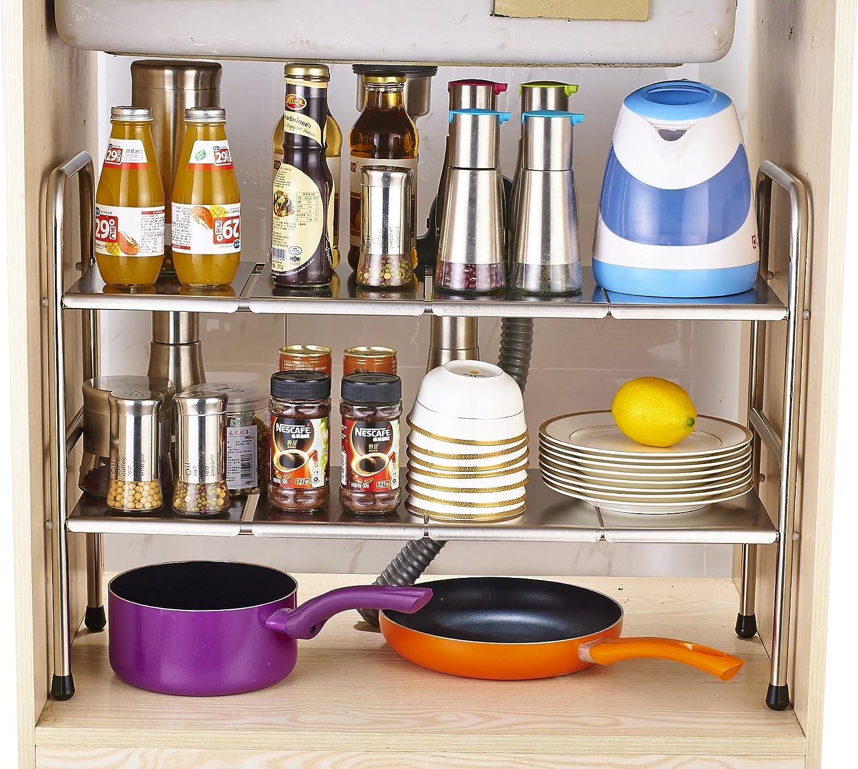 scaffale estensibile in acciaio inox da riporre sotto il lavello della cucina 2 parti Black Ease Home