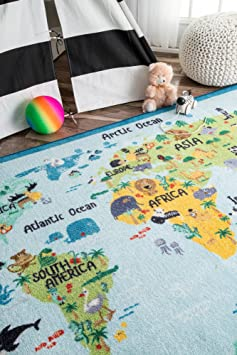 Baby Blue 3 3 x 5 nuLOOM MCGZ10A Animal World Map Kids Rug
