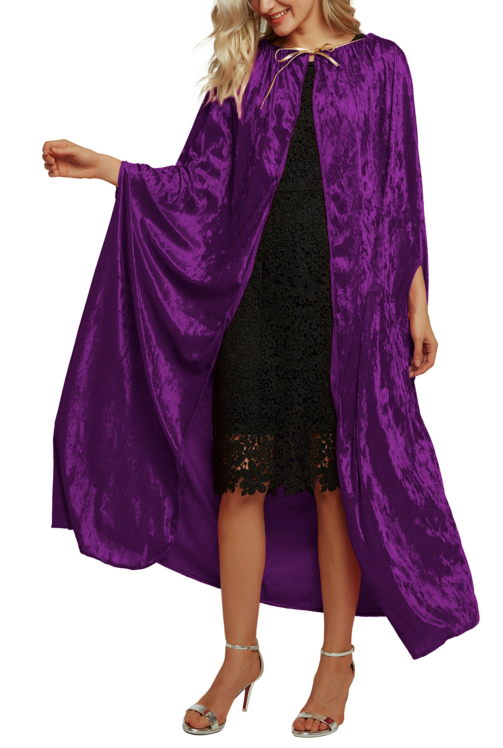 Urban CoCo Women's Costume Full Length Crushed Velvet Hooded Cape (Series 2-Purple) by Urban CoCo