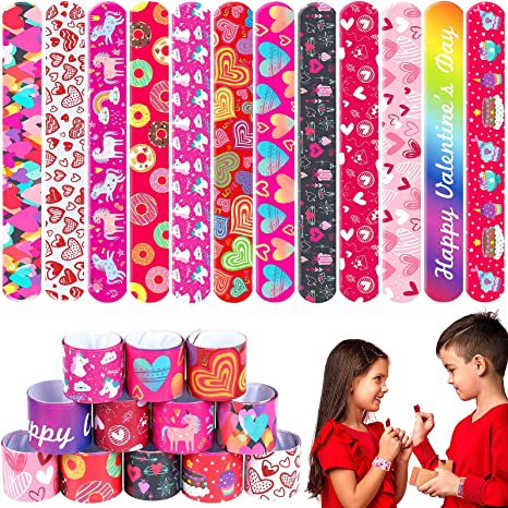Toyssa 48Pcs Valentine's Day Slap Bracelets Colorful Hearts Snap Wristbands Valentine's Party Favors Classroom School Exchange Gift for Kids