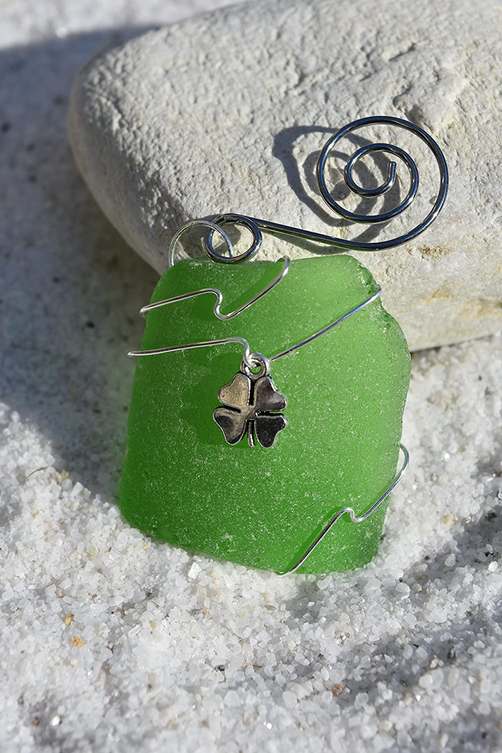 Amazon.com: Shamrock Charm on a Genuine Green Sea Glass Ornament: Handmade