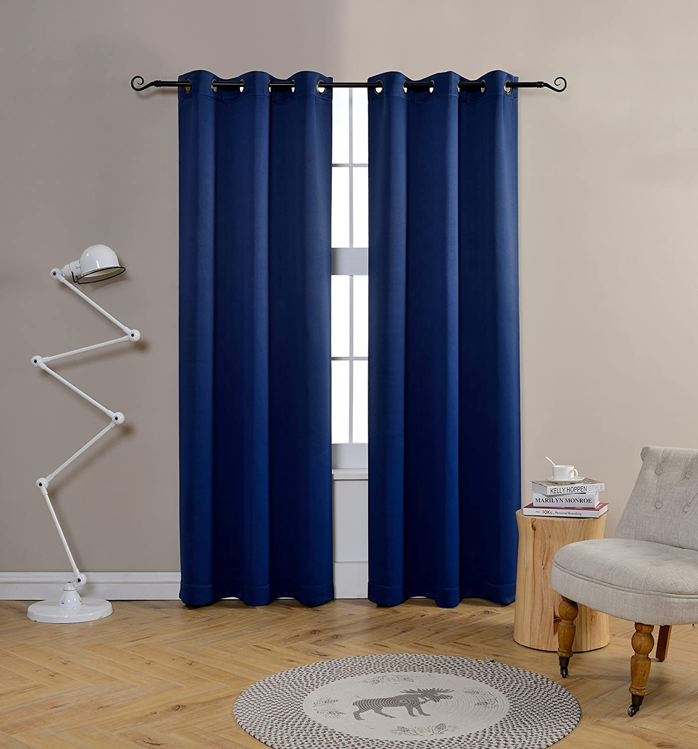Mysky Home Grommet top Thermal Insulated Window Blackout Curtain for Living Room Navy