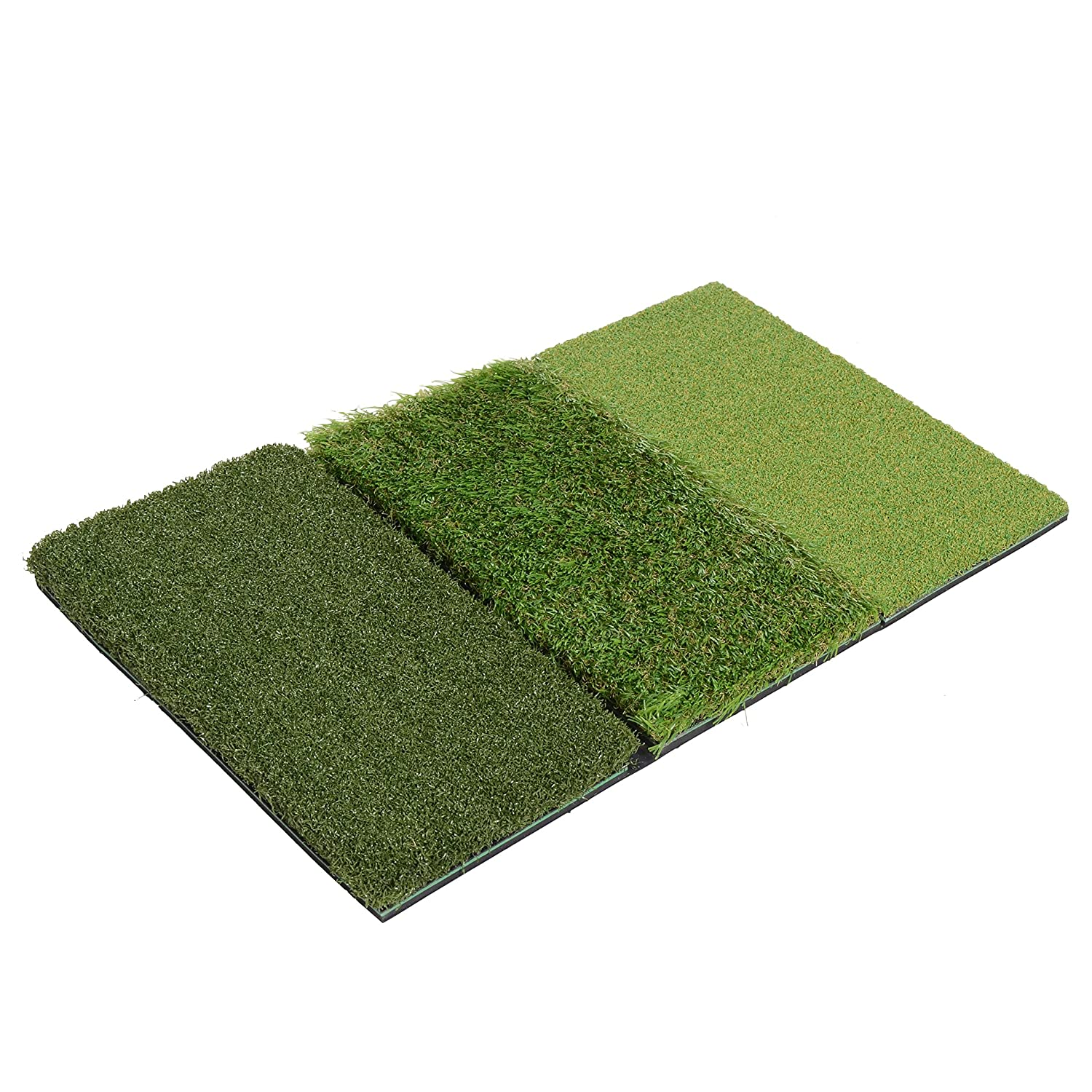 Milliard Golf 3-in-1 Turf Grass Mat Foldable Includes Tight Lie, Rough and Fairway for Driving, Chipping, and Putting Golf Practice and Training – 25×16 inches.