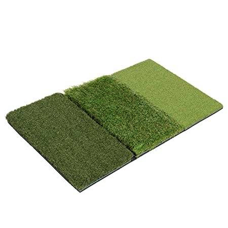 Milliard Golf 3-in-1 Turf Grass Mat Includes Tight Lie, Rough and Fairway for Driving, Chipping, and Putting Golf Practice and Training – 25x16in.