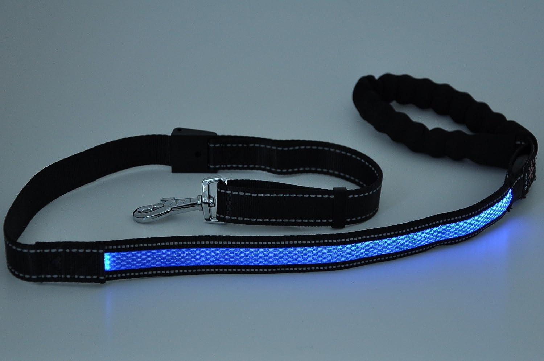 nanook LED Hundeleine leuchtend - wiederaufladbar, inkl. USB-Kabel - verstellbar (105 - 150 cm), reflektierend - Material: Nylon