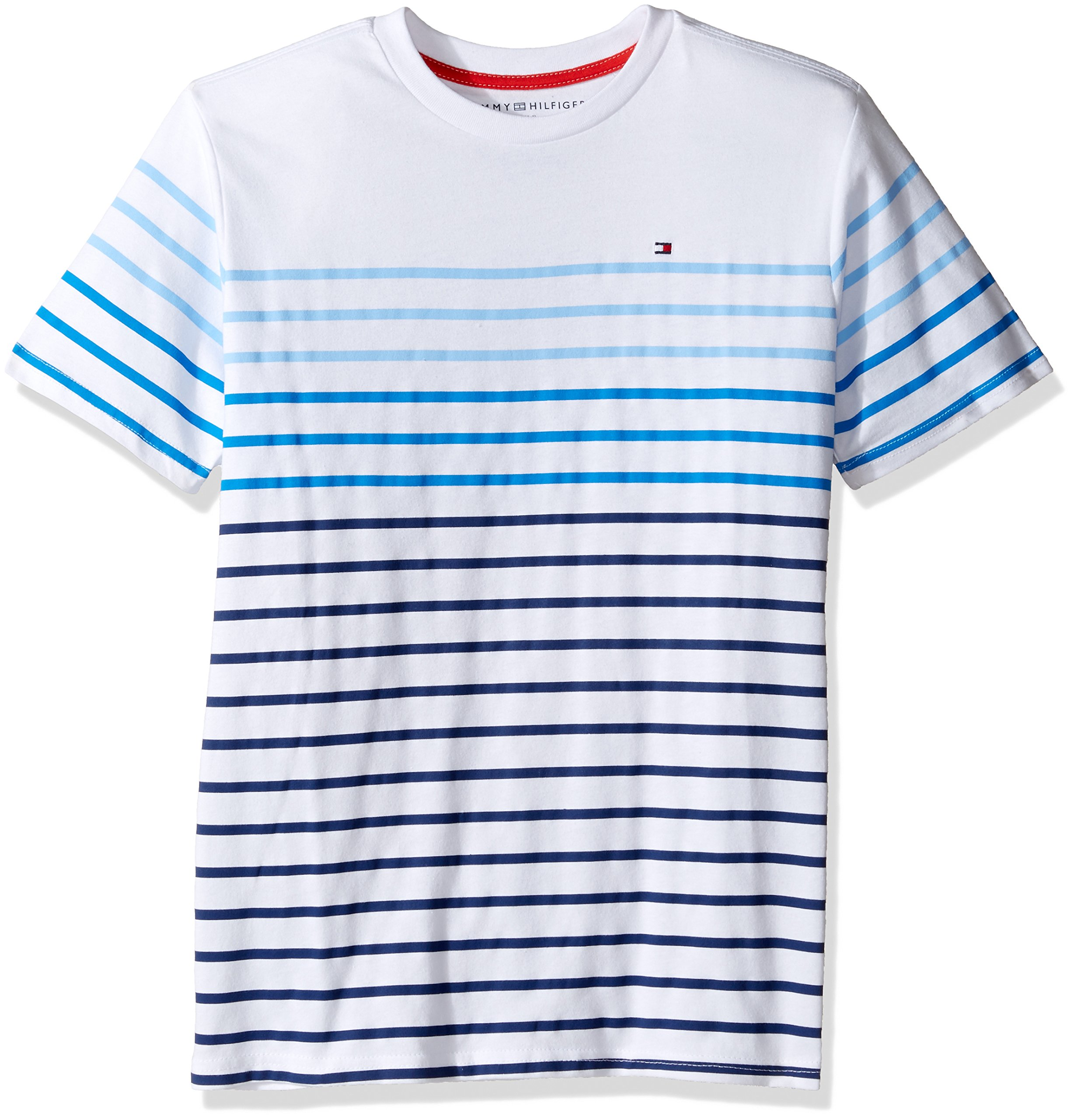 Tommy Hilfiger Big Boys' Short Sleeve Striped Crew-Neck T-Shirt, Summer Blue, Large