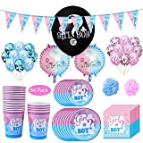 Amycute 139 PCS Gender Reveal Disposable Tableware Set, Blue and Pink Confetti Balloons, Banner Plates Cups Napkins,Baby Shower Birthday Party Favors Decorations