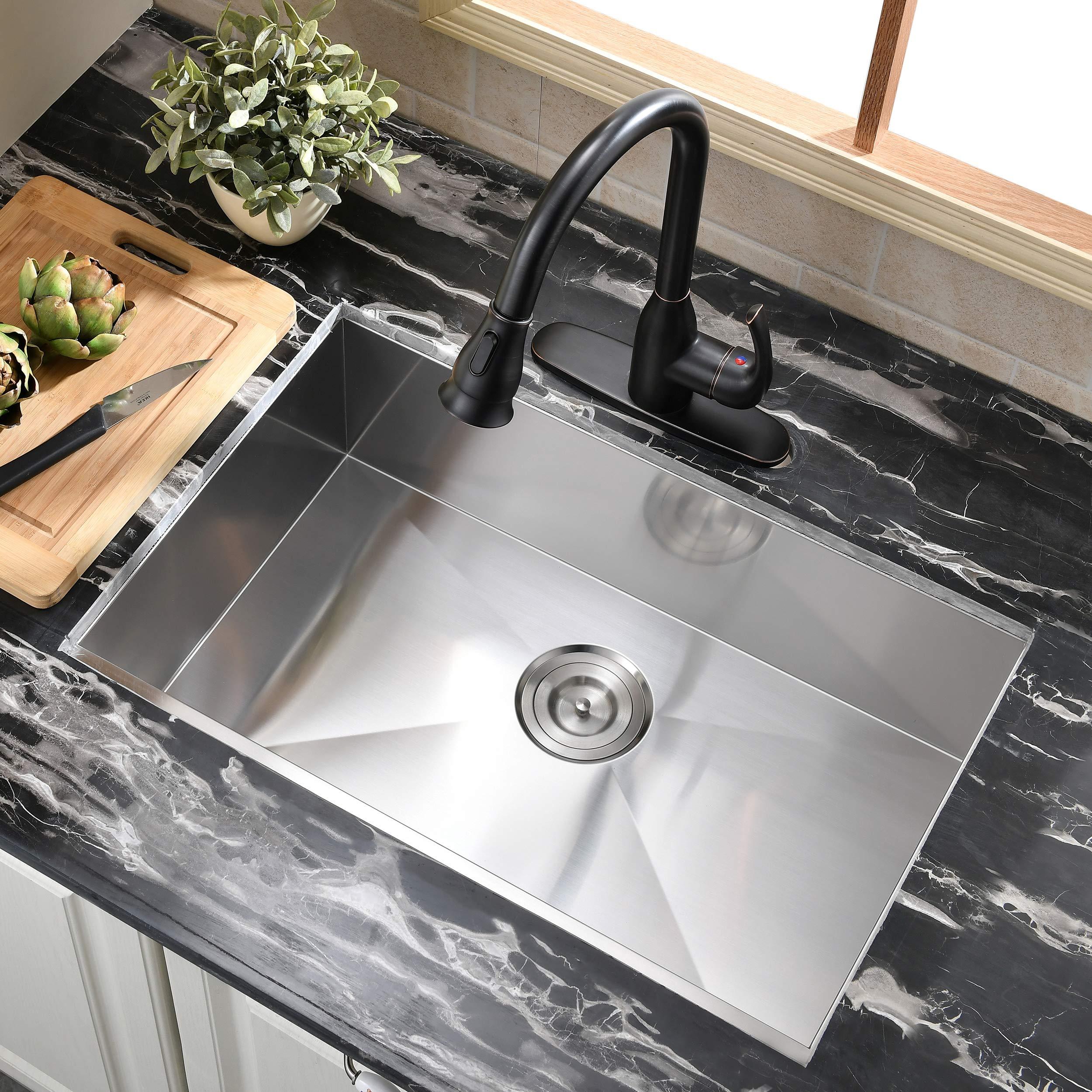 Commercial 28 Inch 16 Gauge Undermount Single Bowl Stainless Steel Kitchen Sink Buy Online In Kuwait At Desertcart