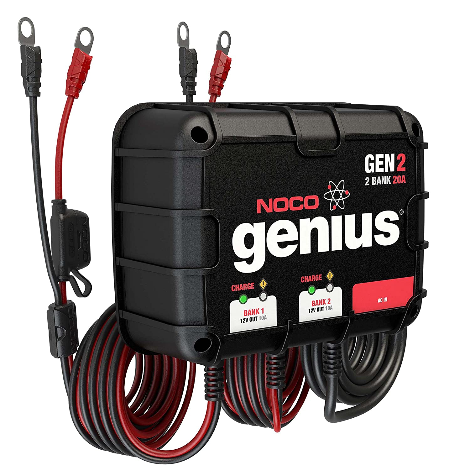 Noco Genius Gen2 20 Amp 2 Bank Waterproof Smart On Board Car Fuse Box Wet Battery Charger Automotive