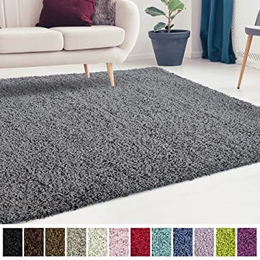 iCustomRug Cozy and Soft Solid Shag Rug 5X7 Charcoal/Dark Grey Ideal to Enhance Your Living Room and Bedroom Decor