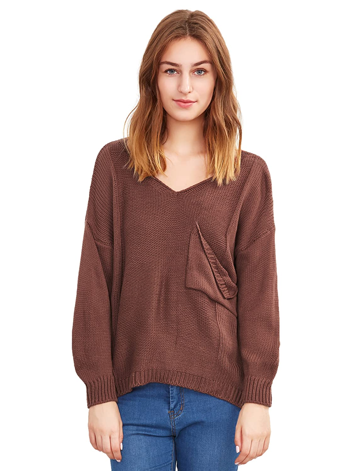 ROMWE Women's Casual V-Neck Long Sleeve Pocket Loose Knit Sweater