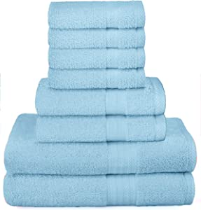 GLAMBURG Ultra Soft 8-Piece Towel Set - 100% Pure Ringspun Cotton, Contains 2 Oversized Bath Towels 30x54, 2 Hand Towels 16x28, 4 Wash Cloths 13x13 - Ideal for Everyday use, Hotel & Spa - Sky Blue