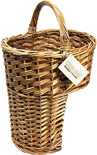 Woodluv Oval Wicker Stair Basket/Step Basket With Handle, Brown