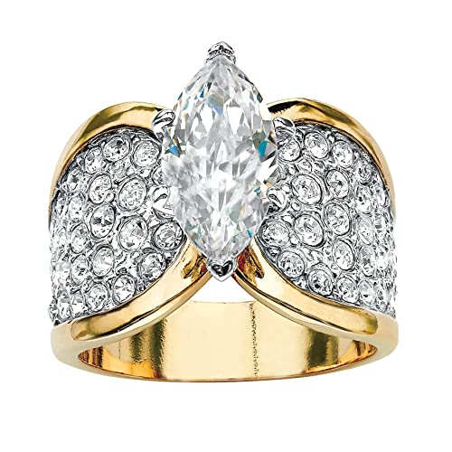 Palm Beach Jewelry 14K Yellow Gold Plated Marquise Cut Cubic Zirconia and Round Crystals Cocktail Ring