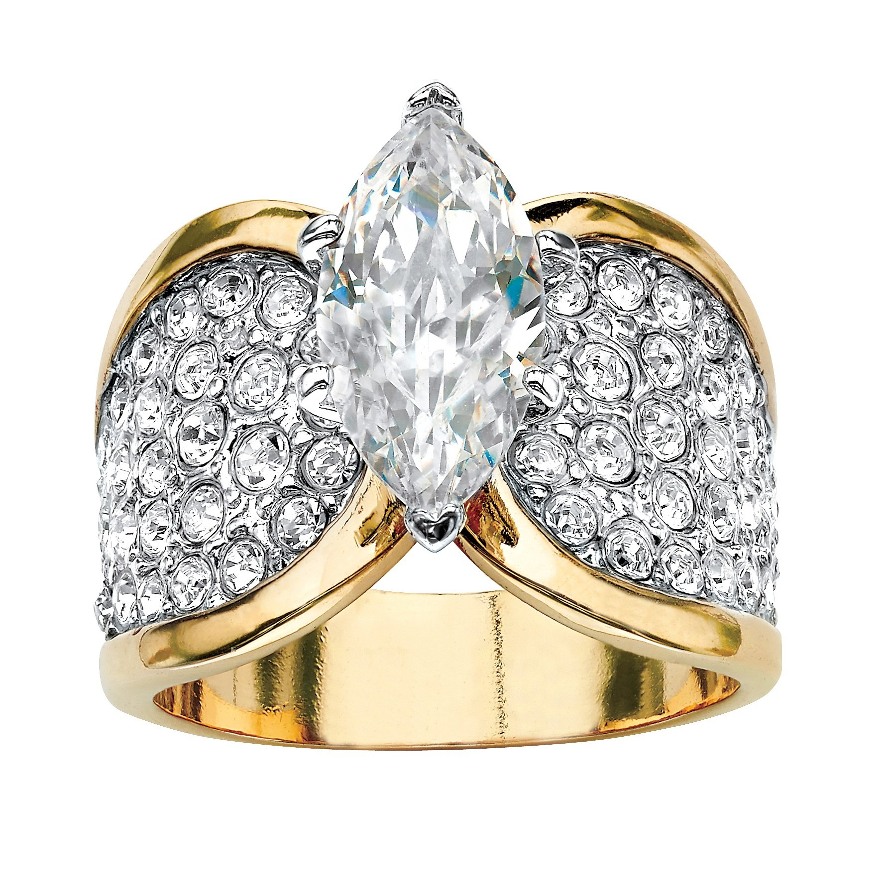 Palm Beach Jewelry Marquise-Cut Cubic Zirconia and Crystal 14k Gold-Plated Cocktail Ring Size 8