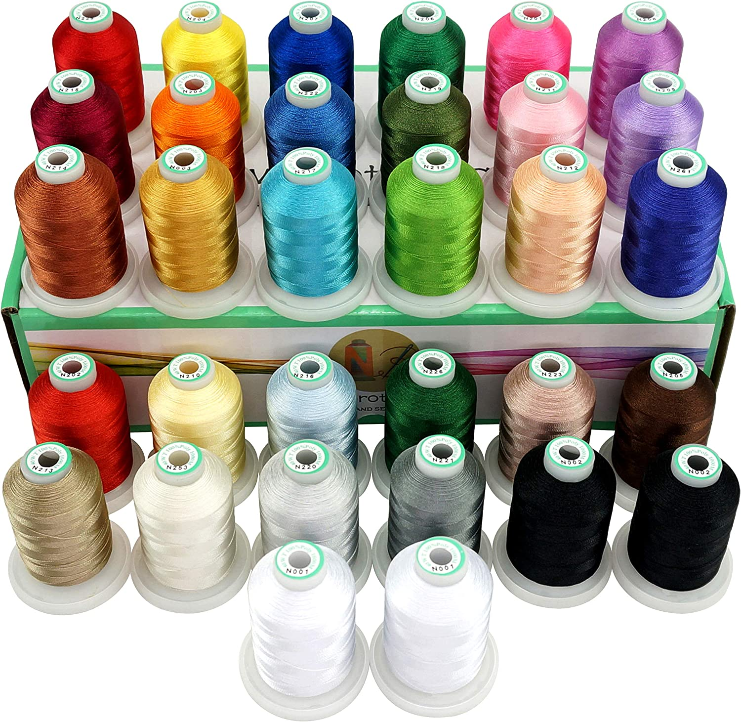 Assortment 2 1100Y New brothread 32 Spools Polyester Embroidery Machine Thread Kit 1000M Each Spool- New Colors Compatible with Janome and RA Colors