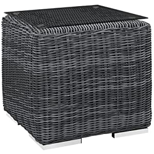 Modway EEI-1867-GRY Summon Wicker Rattan Outdoor Patio Square Side Table, Gray