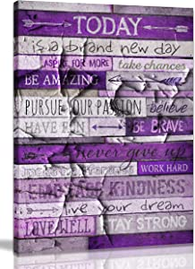 Inspirational Wall Art With Quotes Office Wall Decor For Bedroom Teen Girl Wall Pictures For Living Room Purple Wall Art For Bedroom Word Artwork For Home Walls Large Canvas Wall Art Size 24x36