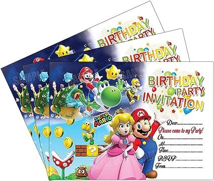 Invitations 20 X Super Mario Kids Birthday Party Invites Cards Quality Boys Girls