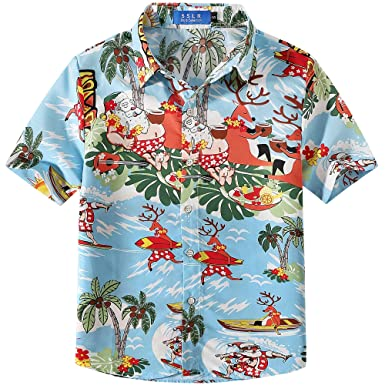 e37ea870 SSLR Big Boys' Santa Claus Party Tropical Ugly Hawaiian Christmas Shirts  (XX-Small