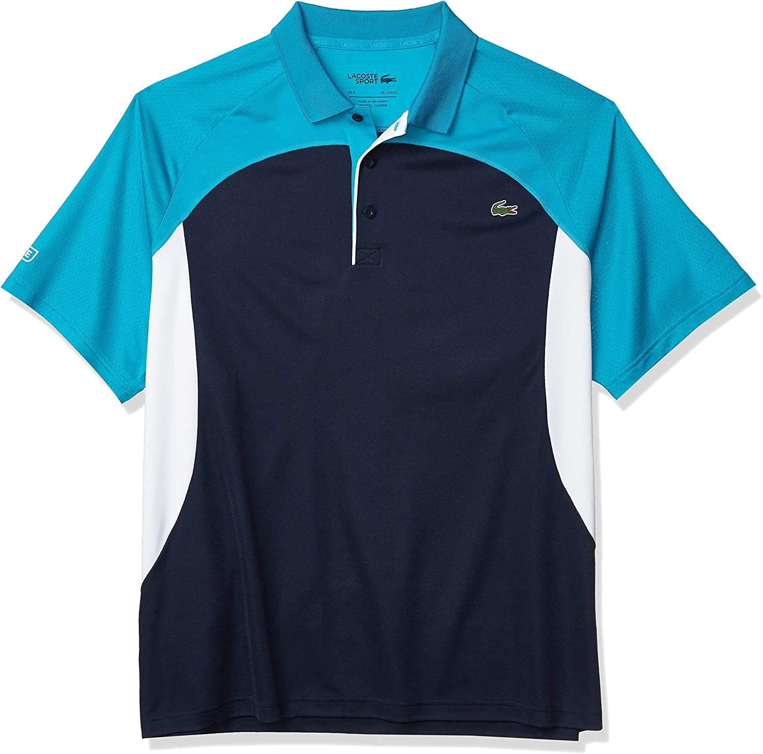 Lacoste Mens Sport Short Sleeve Colorblock Ultra Dry Polo Shirt
