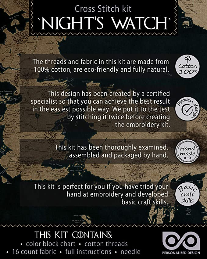 DIY Bookmark with GoT Cross Stitching Pattern Nights Watch Embroidery Kit Game of Thrones