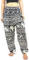 NaLuck Women's Boho Hippie Elephant Rayon Smocked Waist Yoga Baggy Harem Pants