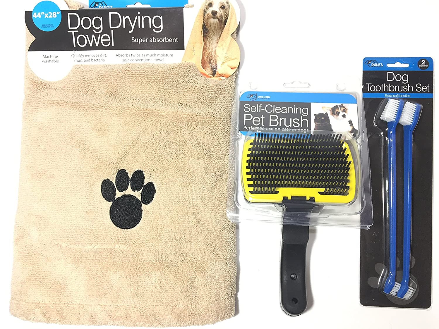 Dog Grooming Kit, It Includes, Pet Bath Cloth Towel Absorbent Quick Dry, Pet Toothbrush Gentle Dual Headed Cleaner Tough Dental Care + Self Cleaning Slicker Brush, Good for Lg, M and Sm size Dogs,
