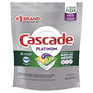 Cascade Platinum ActionPacs Dishwasher Detergent Lemon Scent, 21 ct (Pack of 5)