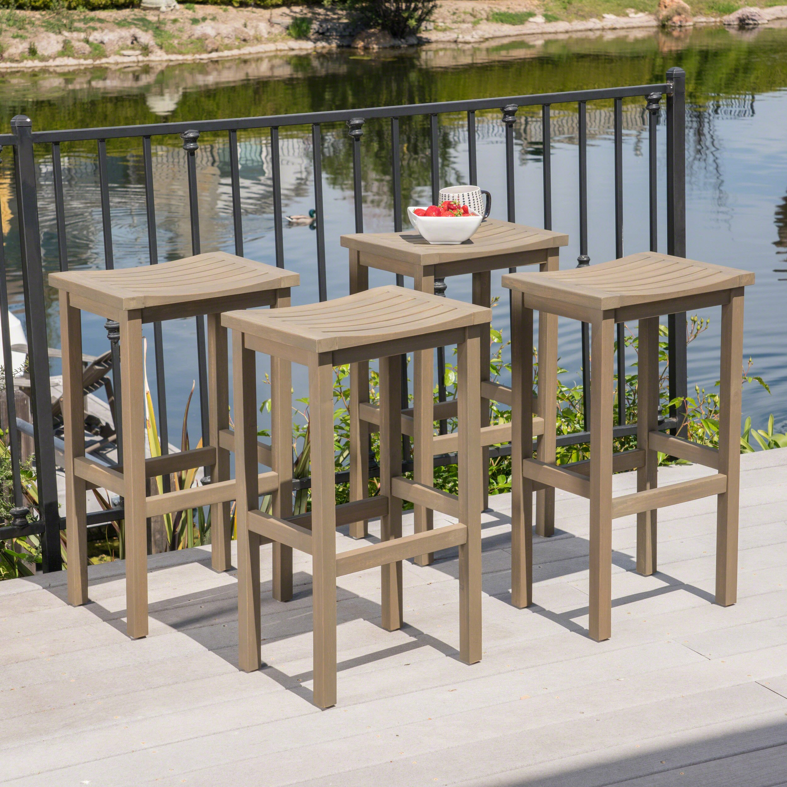 Christopher Knight Home 304159 Caribbean Outdoor Acacia Wood Barstools (Set of 4), Gray Finish