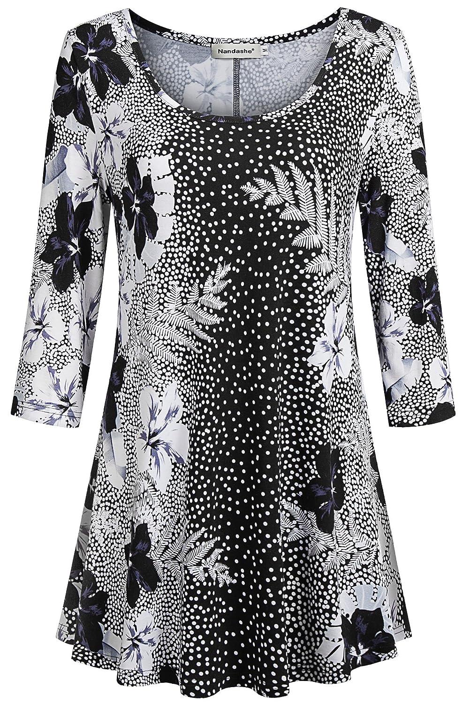 Black White Nandashe Women V Neck Short Sleeve Basic Flare Tunic Tops Loose Plus Size Shirts