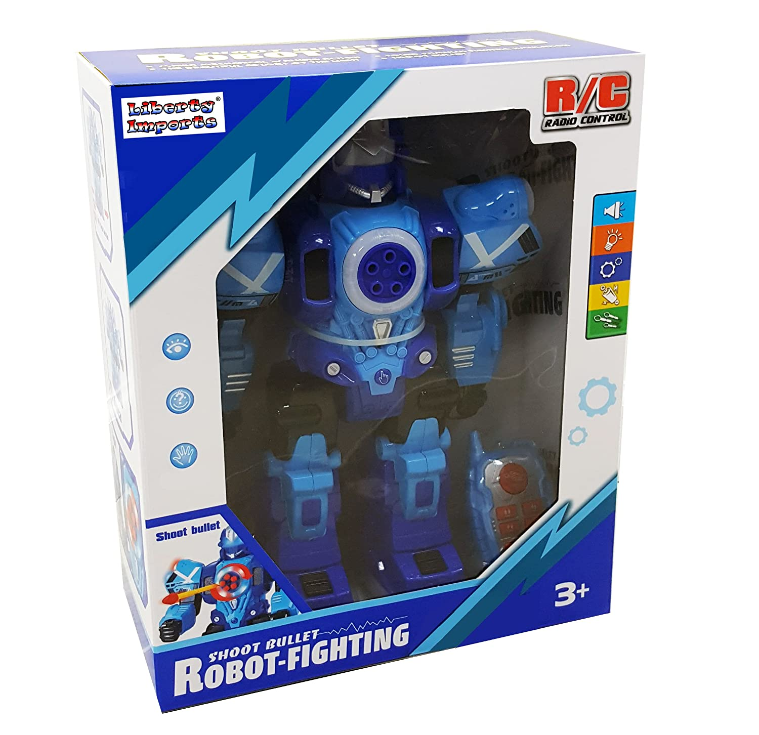 RC Robot Shoots Darts Talks Liberty Imports Large Remote Control Robot Toy for Kids Walks and Dances 10 Functions