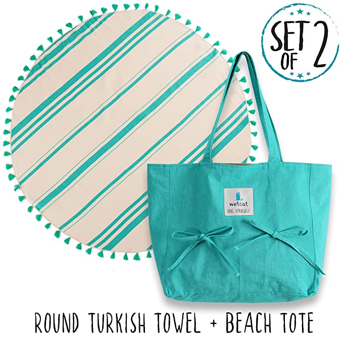 WETCAT Turkish Beach Towel with Matching Beach Tote (16 x 14) - 100% Cotton Summer Bag with Towel Holder, Carrying Strap & Interior Pocket - Washer-Safe, Stylish Design (Round + Bag, Green) best beach bag
