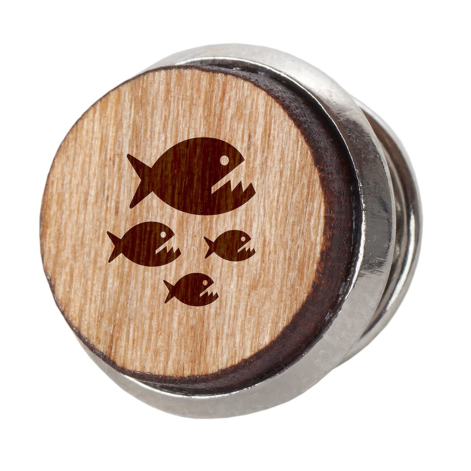 Engraved Tie Tack Gift 12Mm Simple Tie Clip with Laser Engraved Design Piranha Stylish Cherry Wood Tie Tack