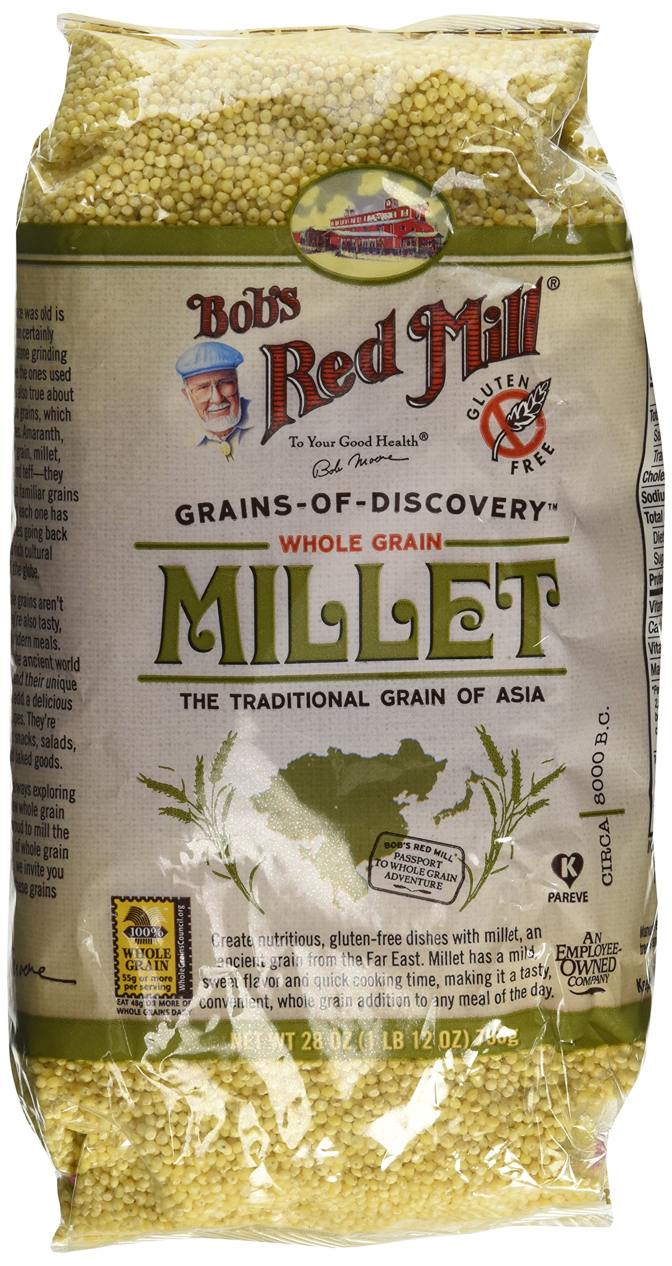 Bobs Red Mill Millet Hulled Gf, 28oz, (Pack of 2)