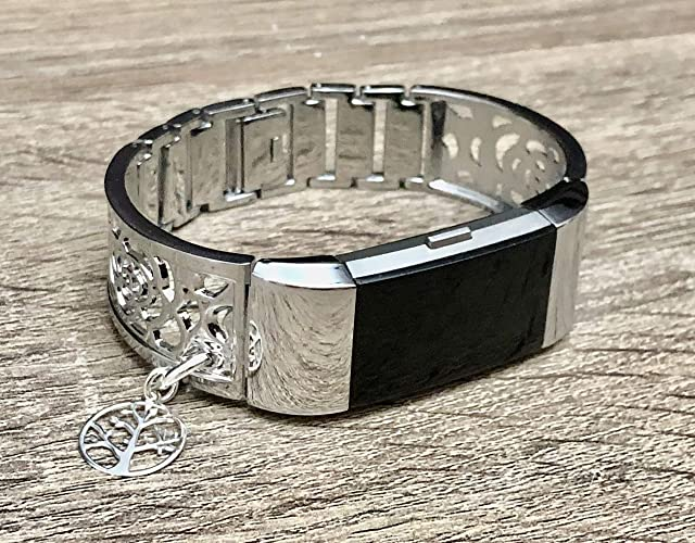 Silver Color Bracelet For Fitbit Charge 2 Fitness Tracker Handmade Jewelry  for Fitbit Charge 2 Band Shiny Silver Bangle 925 Sterling Silver Tree of