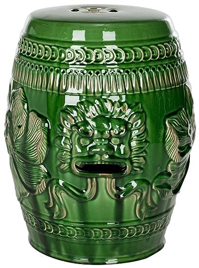 Amazon.com: Safavieh Castle Gardens Collection Green Glazed Ceramic ...