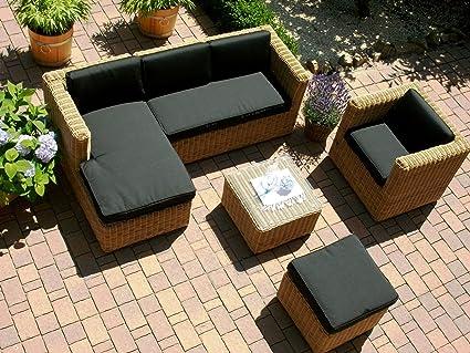 Bomey Lounge Wohnlandschaft Sofa Sessel Tisch Hocker Rattan Polyrattan Geflecht Gartenmobel Beige Braun Marseille