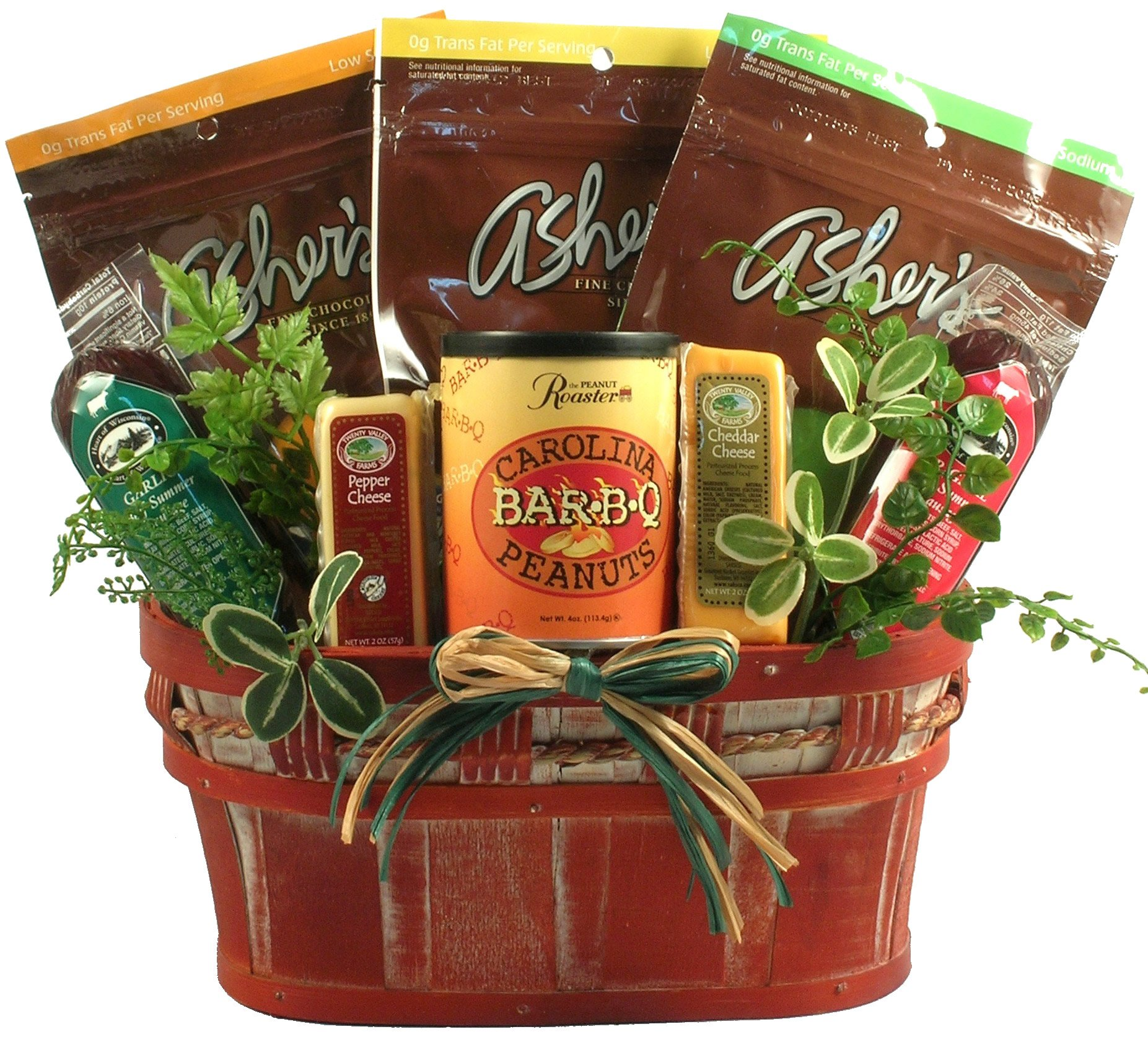 Healthy Living (Chocolates), Sugar Free Gift Basket with Diabetic Friendly Sweet and Savory Snacks Including Nuts, Sausage, Cheese and More