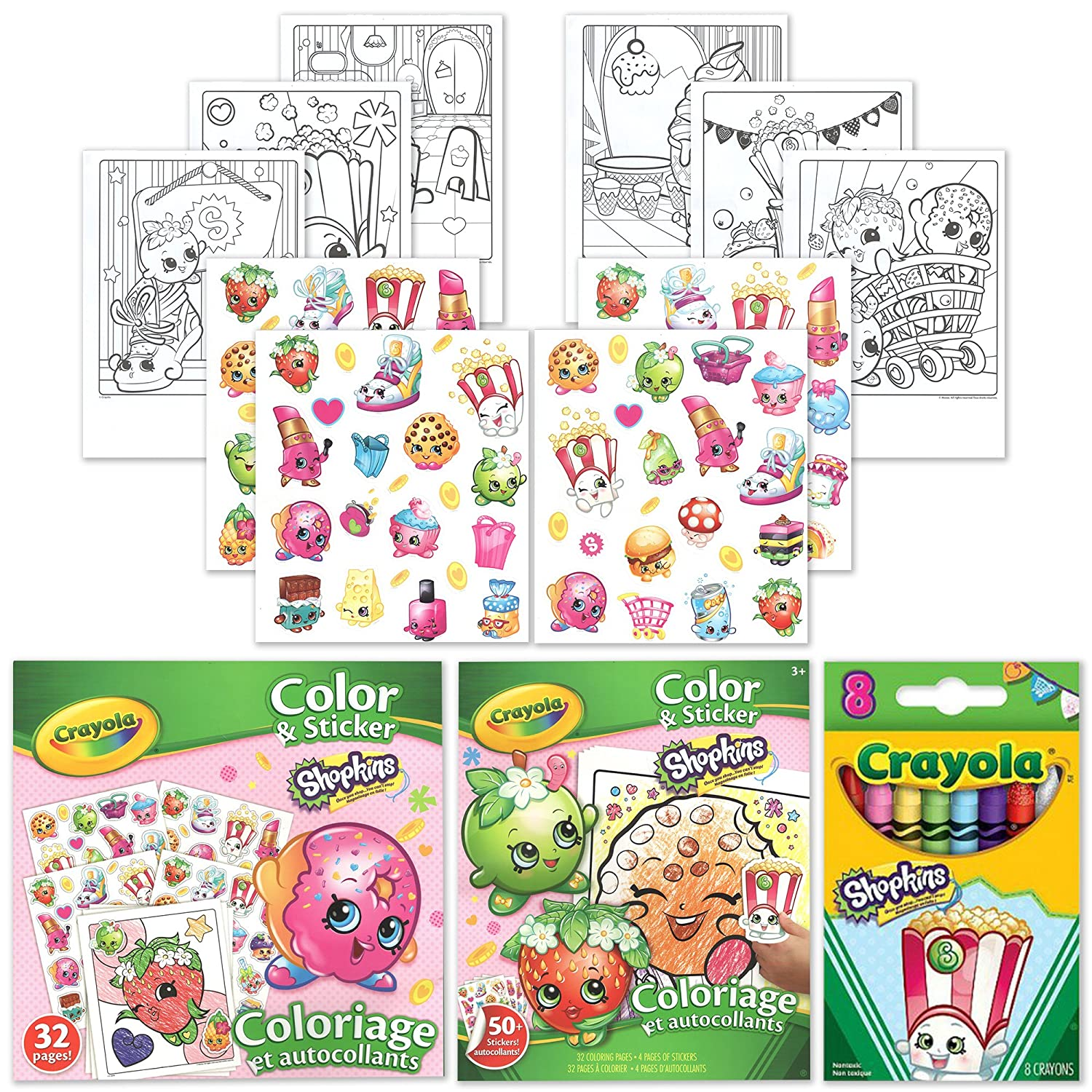 shopkins 50 stickers 32 coloring pages and 8 poppy corn crayola